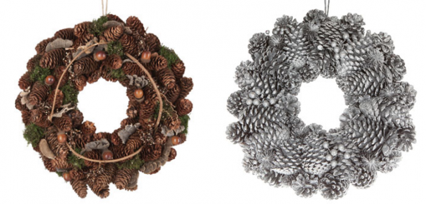 coroas de natal com pinhas