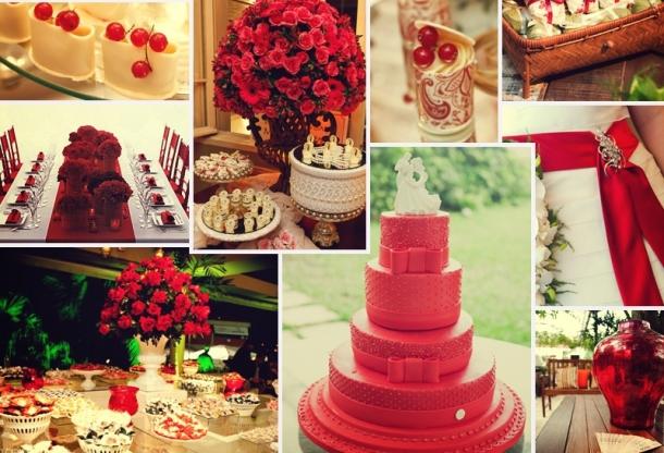 decoração em tom vermelho