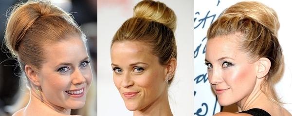 Penteados de festa para cabelos médios - coque alto